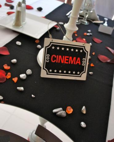 Thème Cinema, décoration festive de mariages et soirées.