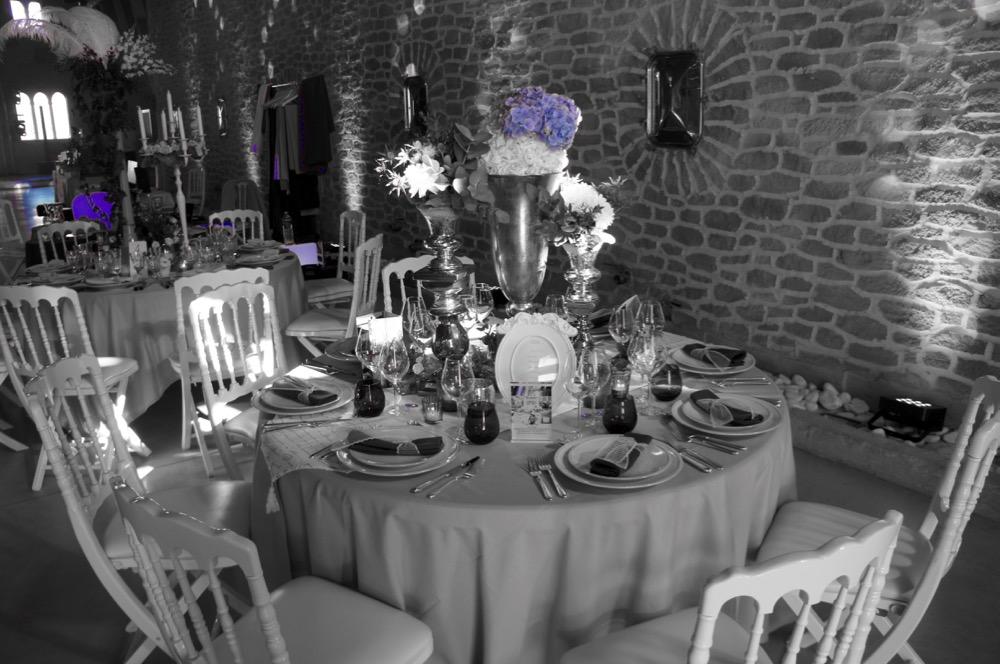 D co de table en bleu et gris au chateau de roquefeuille - Deco de table bleu et gris ...