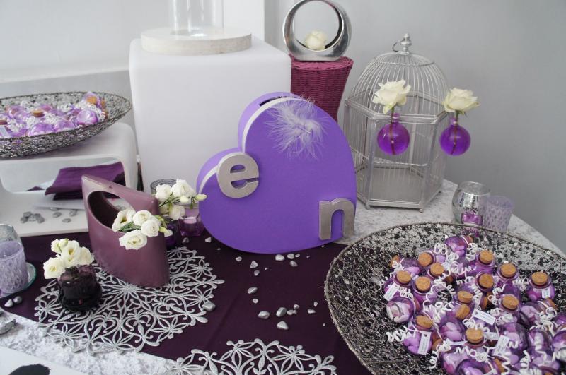 Decoration Violet Et Argent Table